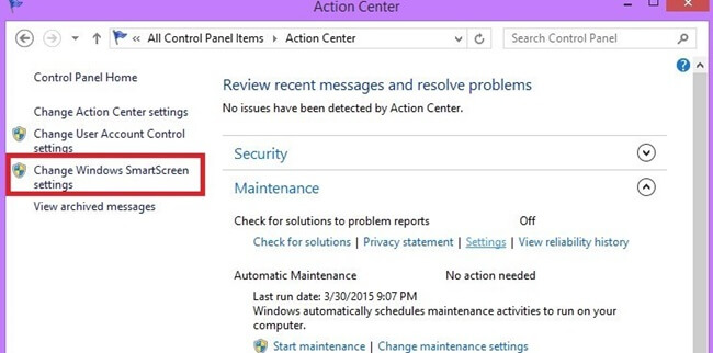 Chọn Change Windows SmartScreen settings