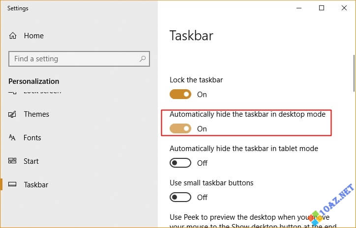 Bật tính năng Automatically hide the taskbar in desktop mode
