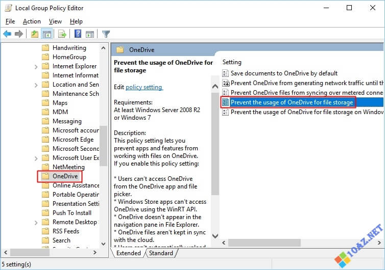 Chỉnh sửa file Prevent the usage of OneDrive for file storage