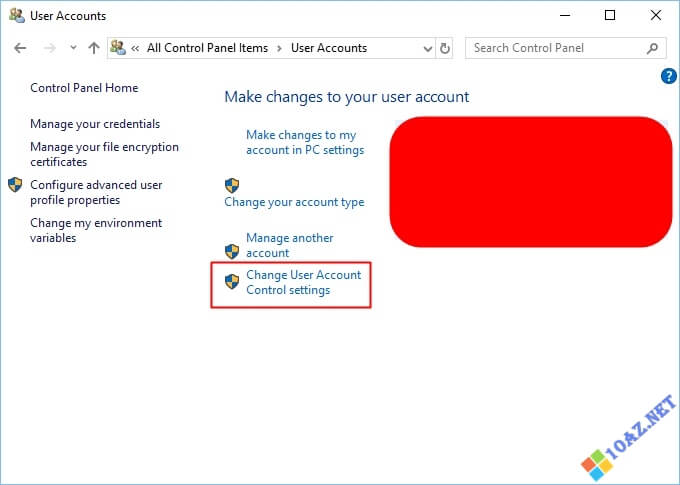 Nhấp vào Change User Account Control settings