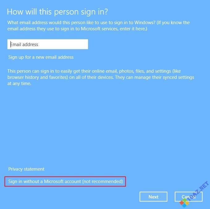 Chọn tiếp Sign in without a Microsoft account
